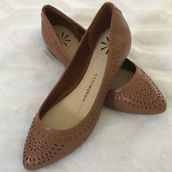 Womens brown leather cut-out leather loafers size 5